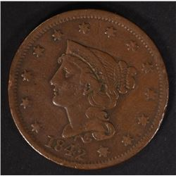 1842 LARGE CENT XF