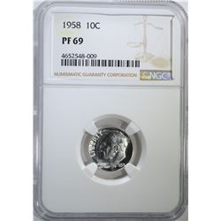 1958 ROOSEVELT DIME, NGC PF-69