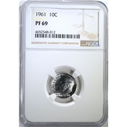 1961 ROOSEVELT DIME, NGC PF-69