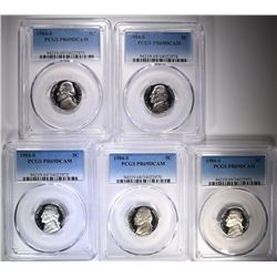 5-1984-S JEFFERSON NICKELS, PCGS PR-69 DCAM