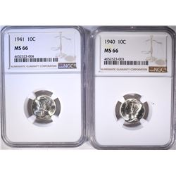 1940 & 41 MERCURY DIMES, NGC MS-66