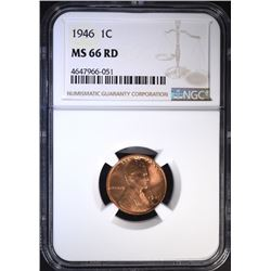 1946 LINCOLN CENT NGC MS 66 RD