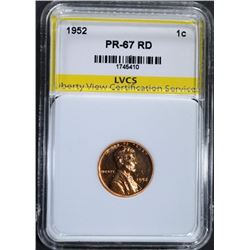 1952 LINCOLN CENT, LVCS SUPERB GEM PROOF RD