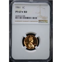 1961 LINCOLN CENT, NGC PF-67* RED