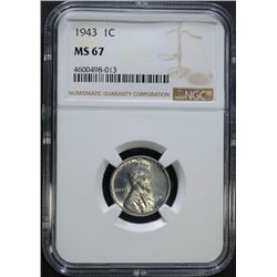 1943 LINCOLN CENT, NGC MS-67