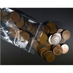 100-LARGE COPPER FOREIGN COINS:
