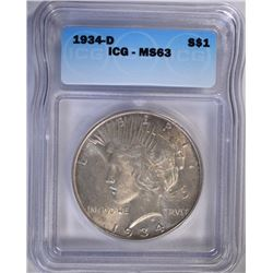 1934-D PEACE DOLLAR ICG MS63