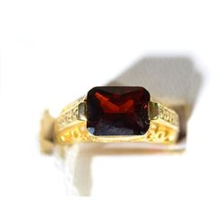 VINTAGE 10K GOLD RING, RED STONE, CZ's