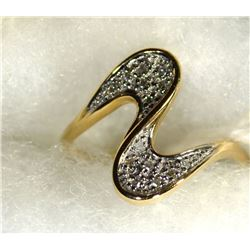 14k GOLD RING, ACCENT DIAMONDS