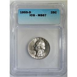 1955-D WASHINGTON QUARTER ICG MS67