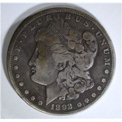 1892-CC MORGAN DOLLAR VG