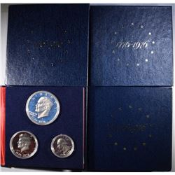 4-PROOF 1976 3-PIECE 40% SILVER BICENTENNIAL SETS