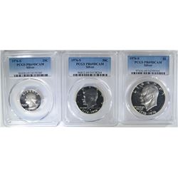 PCGS GRADED 1976-S 3-PIECE SILVER SET: