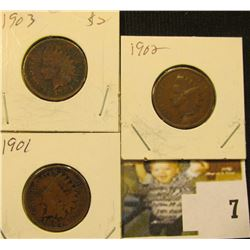 1901, 02, & 03  U.S. Indian Head Cents. Good.