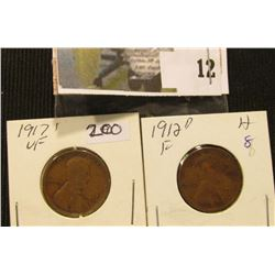 1912 D Fine & 17 S VF Lincoln Cents.