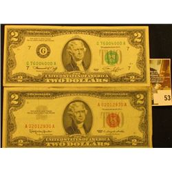 Series 1963 Two Dollar United States Note, S/N A02012930A.  Red Seal  & Series 1976 $2 Federal Reser