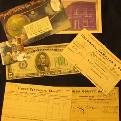(5) Pieces of Banking memorabilia from Nebraska dating back to 1881, includes: 7/30/1881  Caldwell,