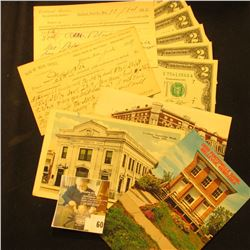 (5) Pieces of Banking memorabilia from Nebraska dating back to 1882, includes: Post card depicting t