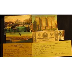1863 Reproduction One Dollar C.S.A. Banknote; unused post card  The St. Francis Hotel, San Francisco