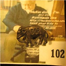 Early 20th Century pewter or silver (not marked) GOP elephant lapel hole political badge