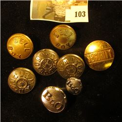 (8) assorted train related uniform buttons, 19th and 20th century