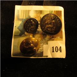 (3) assorted Bank of England / Britannia related uniform buttons, 19th & 20th century