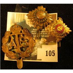 (3) assorted brass military hat / cap badges, British or Canadian, early 20th century