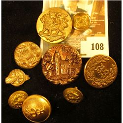 (9) assorted brass buttons, 19th & 20th century, some quite ornate