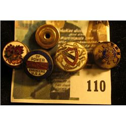 (4) assorted cloisonné enameled screw back style lapel hole pins, (3) are quite ornate, early to mid