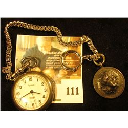 Lyceum Swiss pocket watch, sterling silver case (marked sterling), missing the stem, for parts or re