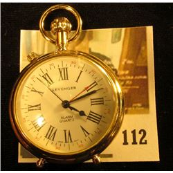 Levenger stand up style pocket watch, quartz movement with alarm, engraved on back  Thank you, World
