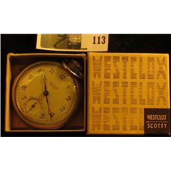 Westclox Scotty pocket watch with original box and warranty, runs, keeps time!