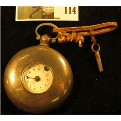 Old British pocket watch, Jas. (Jason) Powell, Worcester, key wound, concentric porcelain dial with