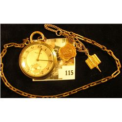 Bulova 10K gold plated 17 jewels pocket watch, 17AE on works, serial # 8002619 on case, with GF chai
