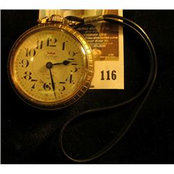 Waltham 17 jewels pocket watch, red numbered, 10K RGP case, nylon strap attached, runs & keeps time