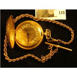 Arnex Time Co. Swiss pocket watch, 17 jewel incabloc, face is ornate with roman numerals and  Gariba