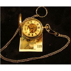 Colibri 17 jewels skeleton style pocket watch, runs and keeps time, with chain attached