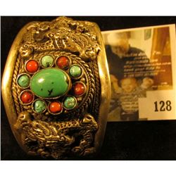 Large, wide (1 ½  at widest point) handmade silver cuff bracelet with red coral and green & blue tur