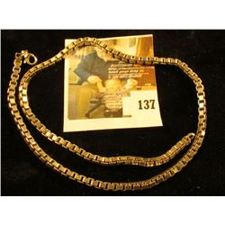 Heavy, large box link necklace, sterling, marked 925, 18  long closed, 38.4 g / 24.7 dwt, link style