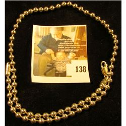 Heavy bead  sink stopper  style sterling necklace, marked 925 milor, 20  when closed, 29.6 g / 19.0