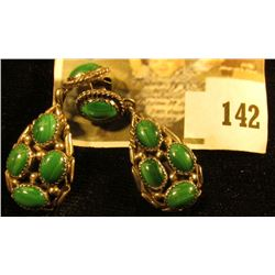 Silver and malachite earrings, 9.8 g / 6.3 dwt