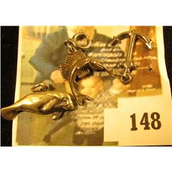 (3) sterling nautical related charms – an anchor, a sailfish, and a manatee (when's the last time yo