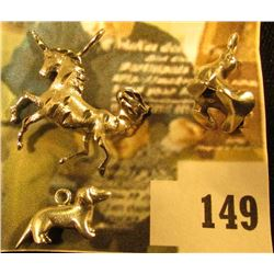 (3) sterling animal charms – unicorn, dachshund, and seal – 6.4 g / 4.2 dwt