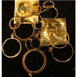 (13) sterling coin bezels, assorted sizes from half dime or three pence to silver eagle, 45.9 g / 29