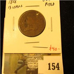1828 Half Cent, 13 stars, VG/F pitted, value $40