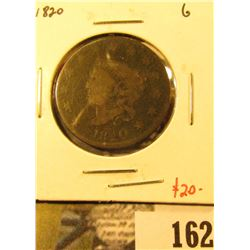 1820 Large Cent, G, value $20