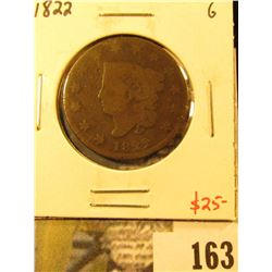 1822 Large Cent, G, value $25