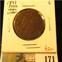 1843 Large Cent, Petite, Small Letters, G, value $20