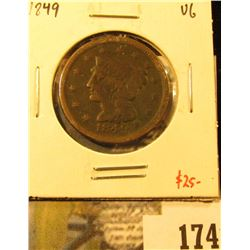 1849 Large Cent, VG, value $25