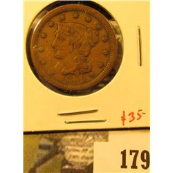 1854 Large Cent, VF, value $35
